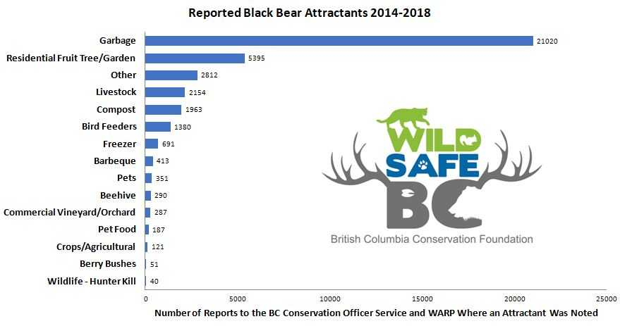 A bar chart showing the number of black bear reports to the BC Conservation Service and WARP where an attractant was noted. The chart is sorted by attractant.