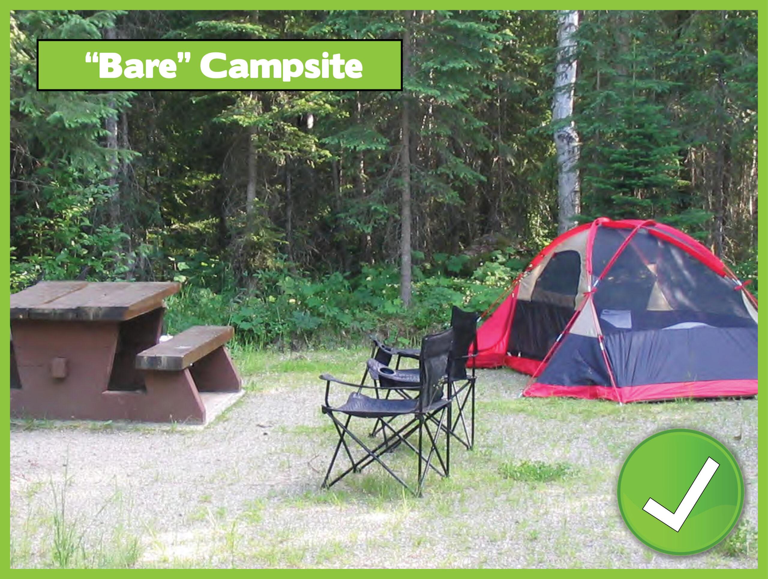 Bare Campsite with check mark
